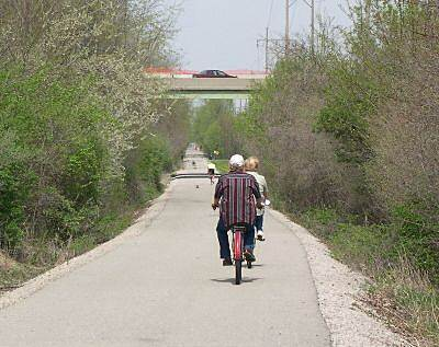 Cardinal Greenway Entering Muncie Under State Road 67 Trail users enter the south end of Muncie passing under State Road 67.