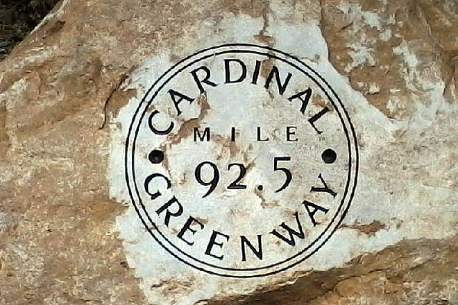 Cardinal Greenway Mile marker rock