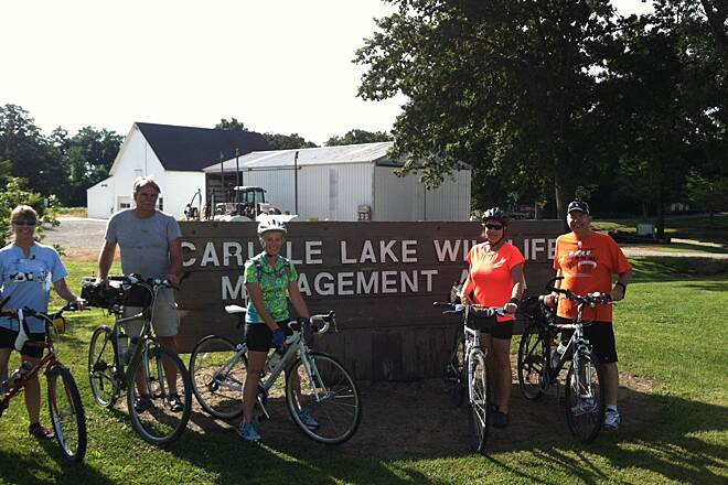 Carlyle Lake Bike Trail Carlyle Lake Ride Taking a break at the Carlyle Lake State Fish and Wildlife Management Area (IDNR) while riding 62 mile ride Carlyle Lake.