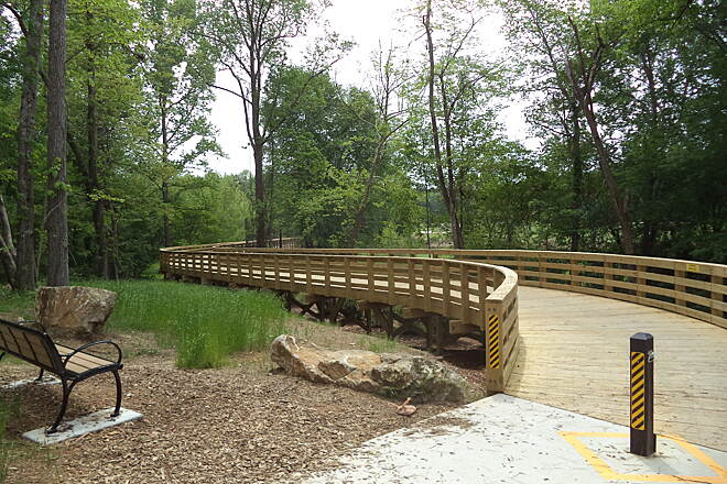 Carrollton GreenBelt Long boardwalk Near the golf course on the southern part of the Greenway.