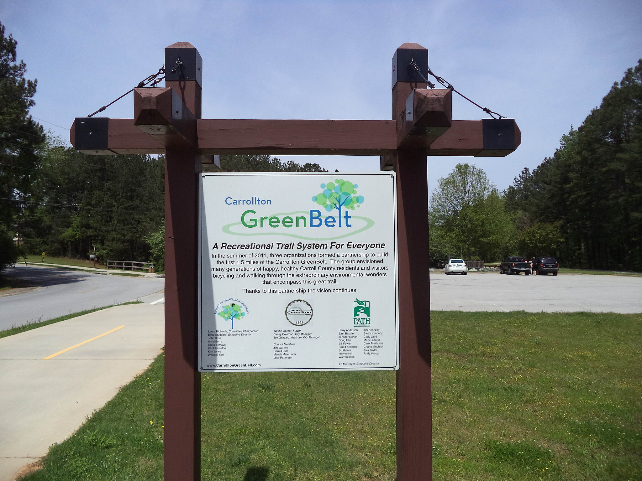 Carrollton GreenBelt Beltway A sign in East Carrollton Park.