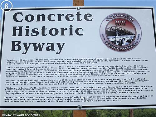 Cascade Trail Concrete Historic Byway Sign Concrete Historic Byway Sign next to the silos