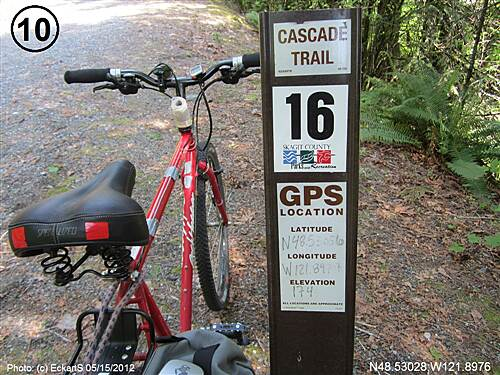 Cascade Trail Cascade Trail mile markers placed by Skagit County Cascade Trail 16 mile marker