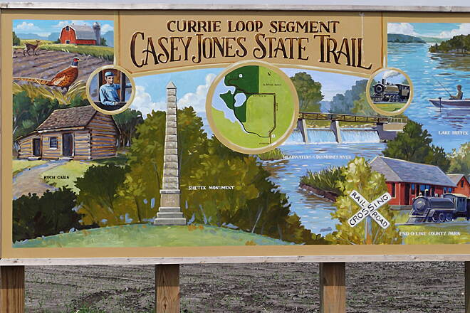Casey Jones State Trail Casey Jones State Trail, Currie Loop All points of interest located around the loop are depicted on this well done sign. This bike trail is a 'must do'.