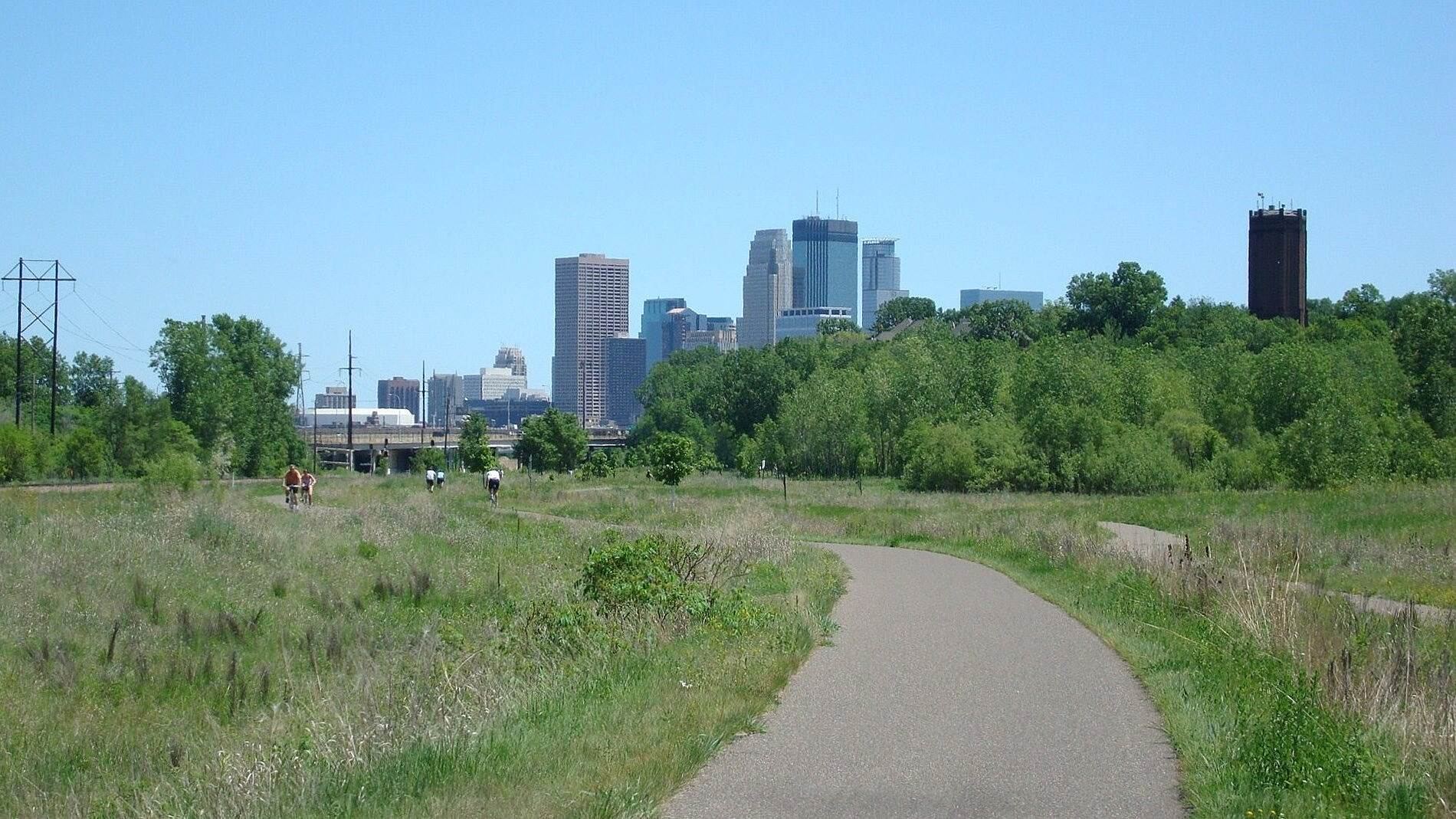 Cedar Lake LRT Regional Trail Cedar Lake Trail Looking toward Minneapolis from the Cedar Lake Trail.