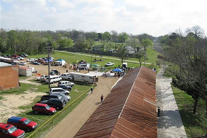 Chaparral Rail Trail  Aerial view of trailhead during first Saturday Farmers & Fleas Market