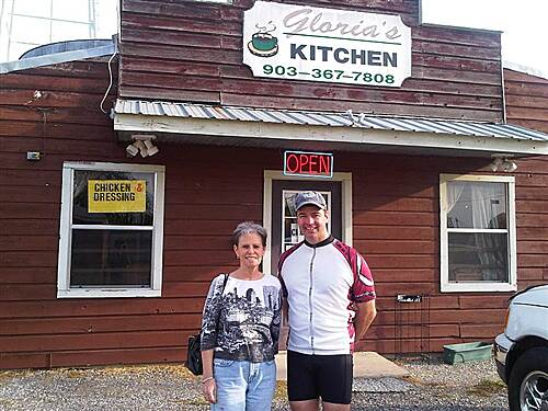 Chaparral Rail Trail Breakfast and Politics Mayor Jan Cooper of Ladonia came to see us at Gloria's Kitchen, a local institution.