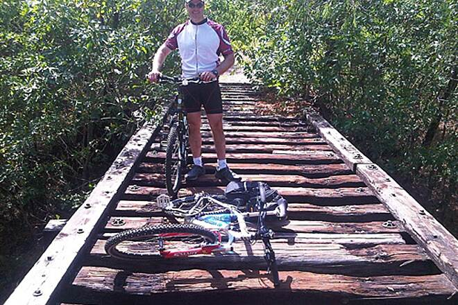 Chaparral Rail Trail Rail Bridge There are approximatley 6 to 8 of these unimproved rail bridges between Farmersville and Ladonia.  Definately need to walk the bike across these!