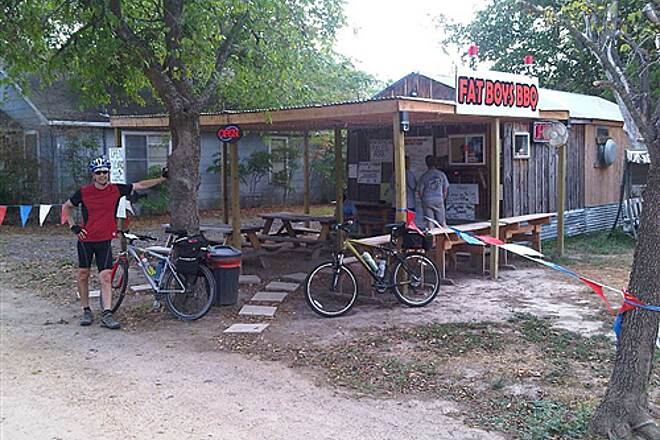 Chaparral Rail Trail Fat Boys BBQ in Ladonia The reward after riding 30+ miles from Farmersville! www.fatboysb-b-q.com