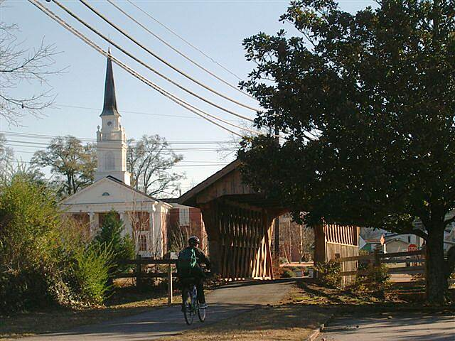 Chattahoochee Valley Railroad Trail Downtown Valley Downtown Valley consists primarily of the historic Langdale Mill Village.  There are numerous historic sites including Word's Dairy, the Kissing Bridge, the Iron Man, and the Horace King Memorial Covered Bridge, seen here.
