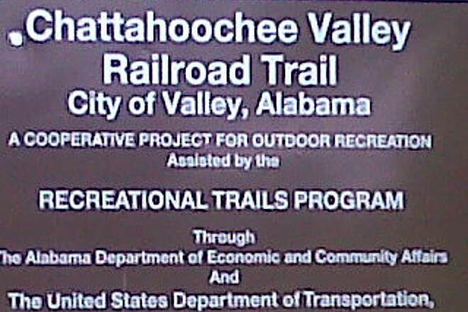 Chattahoochee Valley Railroad Trail Signage at beginning of CVRT in Valley