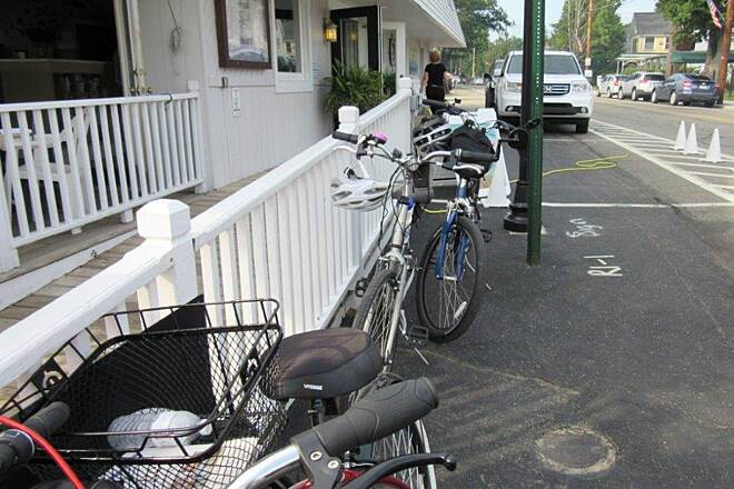Chautauqua Rails-to-Trails Bicycle Parking Bicycle Parking in Bemus Point.