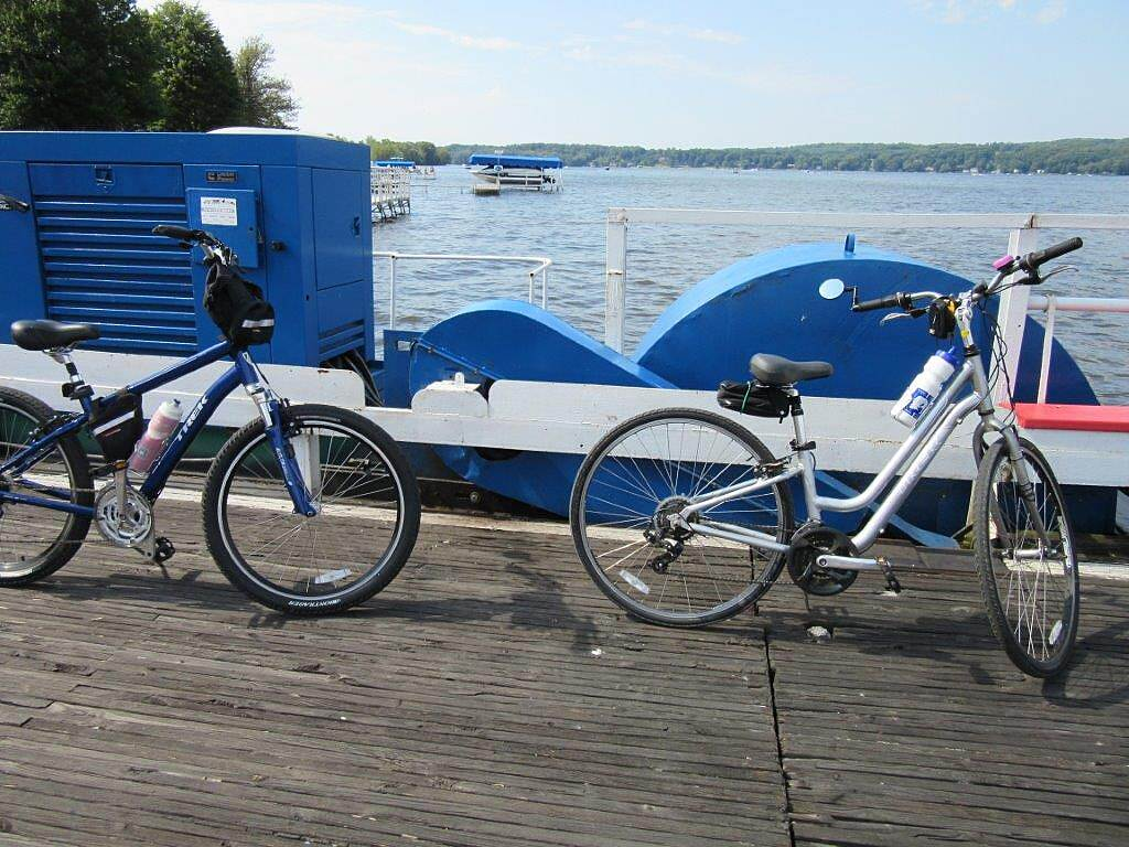 Chautauqua Rails-to-Trails Bikes on the ferry Stow-Bemus Point Ferry is seasonal.  Check with them first!