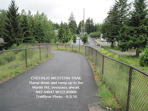 Chehalis Western Trail CHEHALIS WESTERN @ OLYMPIA The Martin Rd. overpass is ahead.