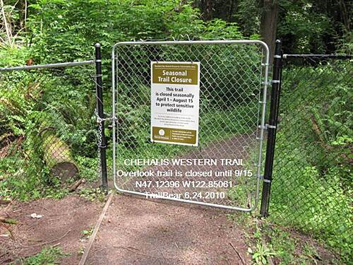 Chehalis Western Trail CHEHALIS WESTERN Park bike, take Overlook Trail - but it is closed most of the summer.