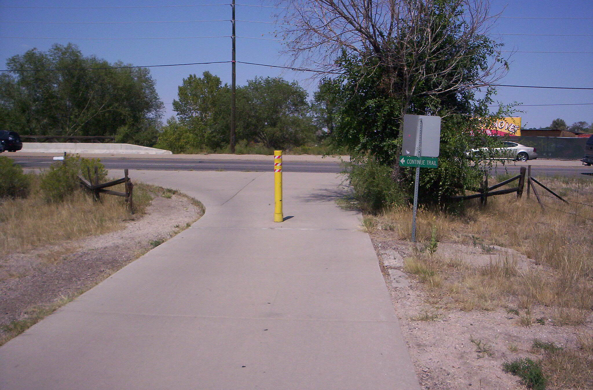 Cherry Creek Regional Trail Jog Trail continues on other side of creek at Iliff Ave