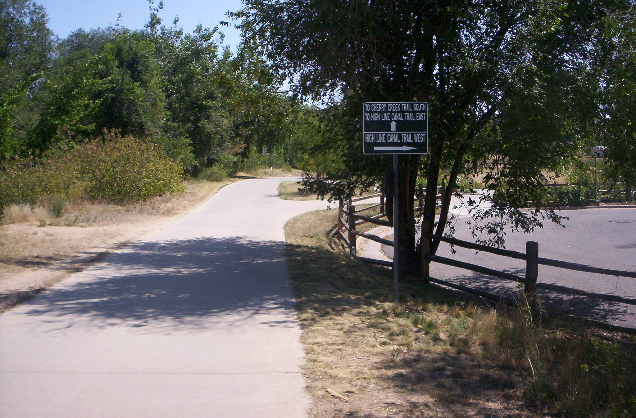 Cherry Creek Regional Trail Merge Intersection with High Line Canal trail west.