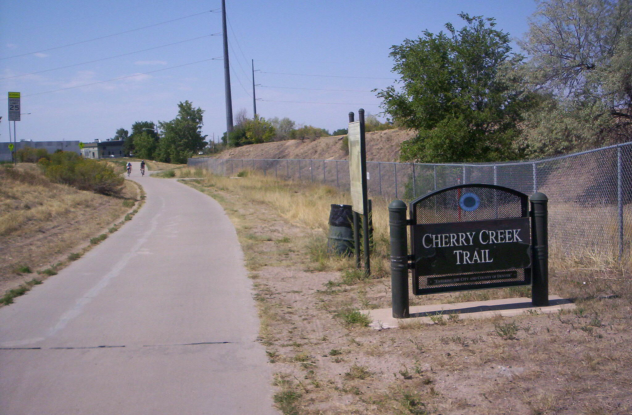 Cherry Creek Regional Trail Sign Sign along the trail, with map.