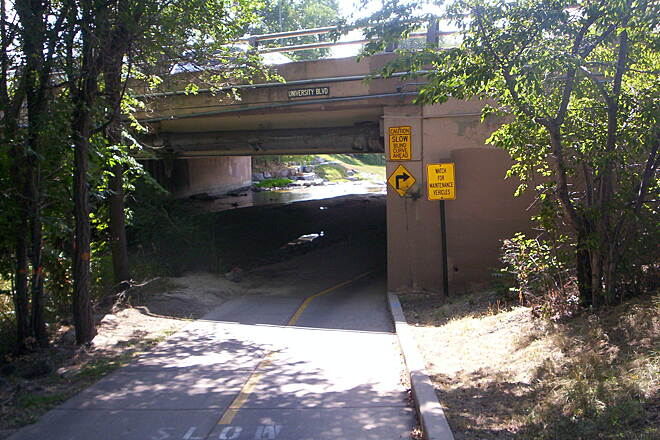 Cherry Creek Regional Trail Curve Watch for sharp curve under University.