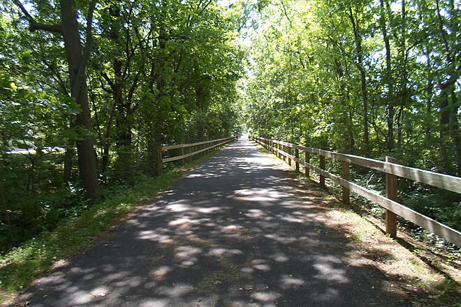 Chester Valley Trail Chester Valley Trail Despite its close proximity to Route 202 and the dense suburbs of eastern Chester County, much of the trail is tree-lined, providing a welcome refuge from the bustle and sprawl. Taken June 2015.