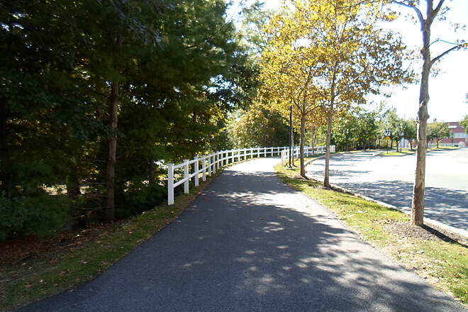 Chester Valley Trail Chester Valley Trail This white fencing lines the trail east of Chesterbrook Blvd. Taken Sept. 2015.