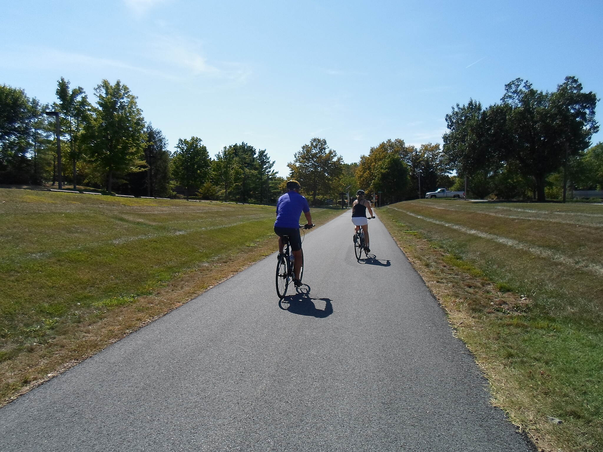 Chester Valley Trail Chester Valley Trail Cyclists approaching Howellville Road on a sunny, late summer day. Taken Sept. 2015.