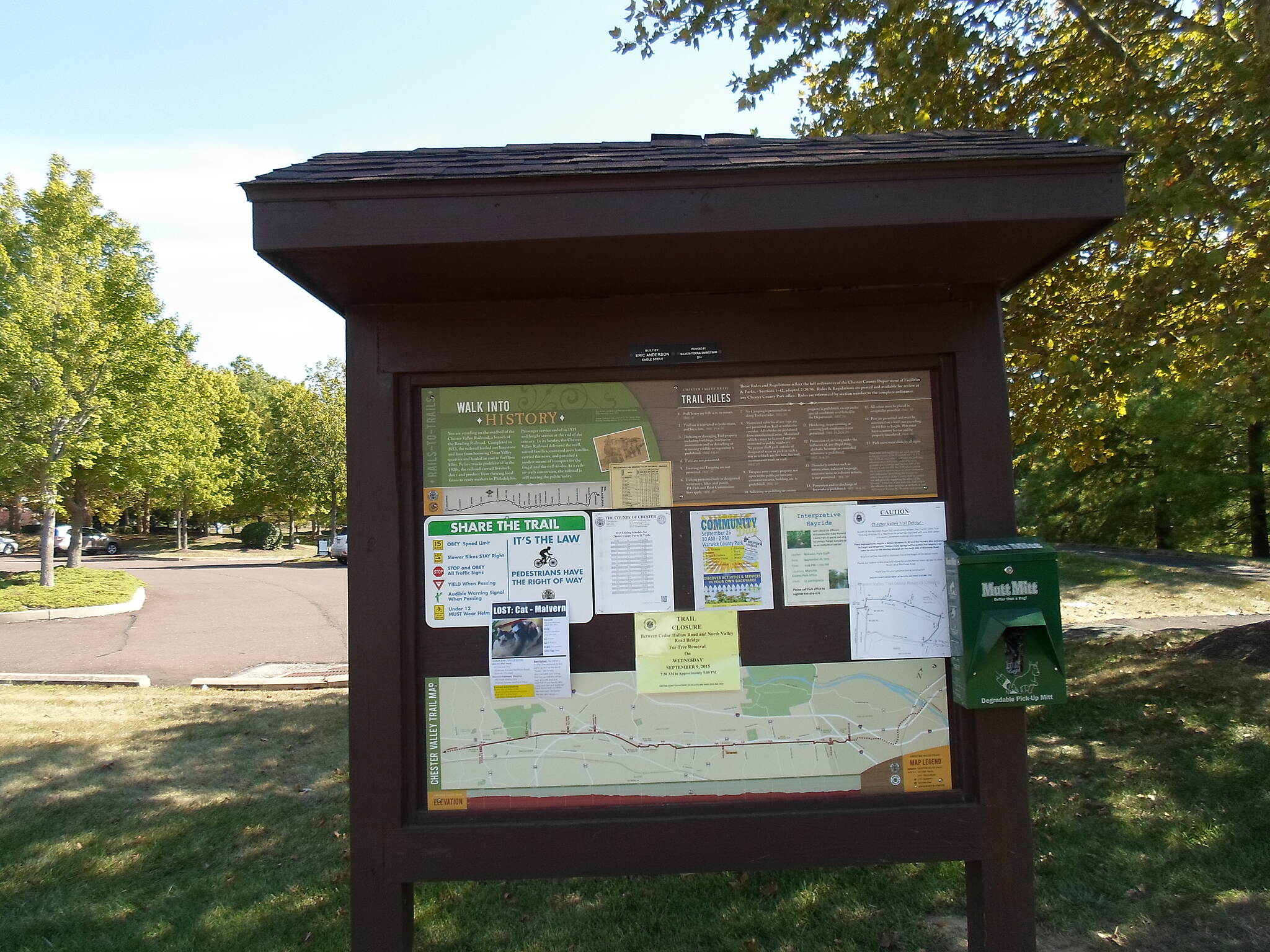 Chester Valley Trail Chester Valley Trail Kiosk immediately east of the Howellville Road crossing. Taken Sept. 2015.