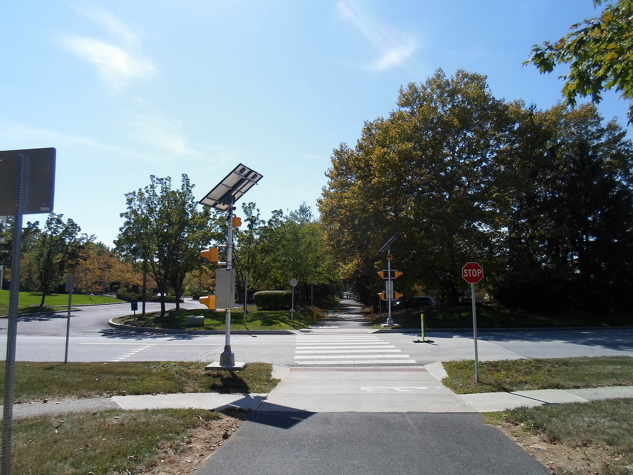 Chester Valley Trail Chester Valley Trail Howellville Road crossing, complete with cutting-edge, solar powered warning signals.