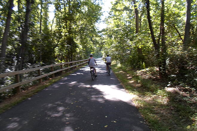 Chester Valley Trail Chester Valley Trail Cyclists riding through the shade west of Howellville on a warm, Sept. day.