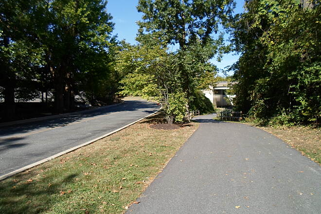 Chester Valley Trail Chester Valley Trail The trail diverges from the office park access road to pass under Route 252. Taken Sept. 2015.