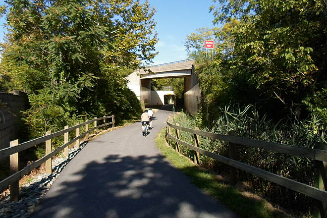 Chester Valley Trail Chester Valley Trail Cyclists approaching the overpasses that carry Route 252 over the trail east of Chesterbrook.
