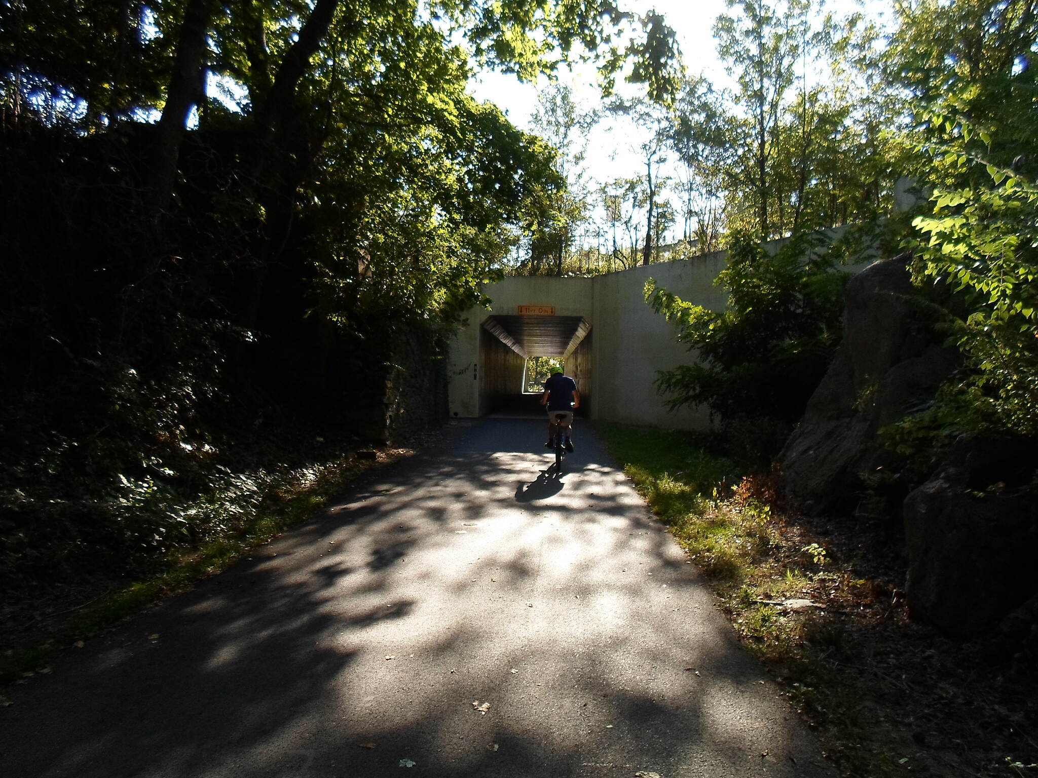 Chester Valley Trail Chester Valley Trail Cyclist entering the tunnel under Route 252 in Tredyffrin Twp. Taken Sept. 2015.