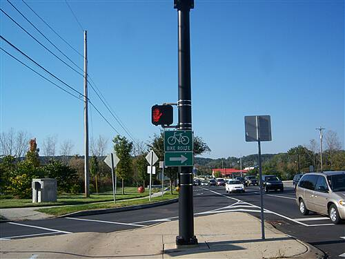 Chester Valley Trail Chester Valley Trail Signs guide users through the busy intersection of Commerce Drive and Route 100