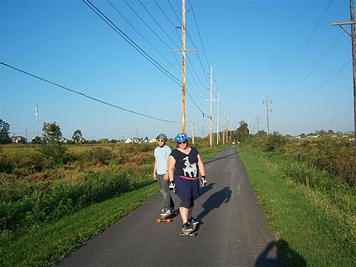 Chester Valley Trail Chester Valley Trail A couple enjoys the beautiful early fall weather by skateboarding on the middle section of the trail, east of Valley Creek Blvd.