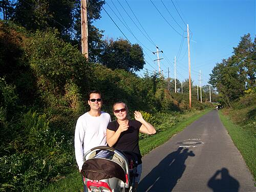 Chester Valley Trail Chester Valley Trail This couple brought their baby for a stroll on the middle section of the trail. Taken just west of the Swedesford Road underpass, Oct. 2011.