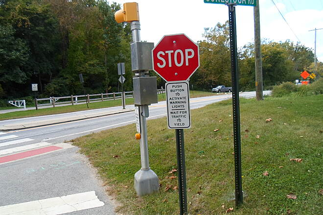Chester Valley Trail Chester Valley Trail Push-button activated signals improve safety while crossing Route 401.