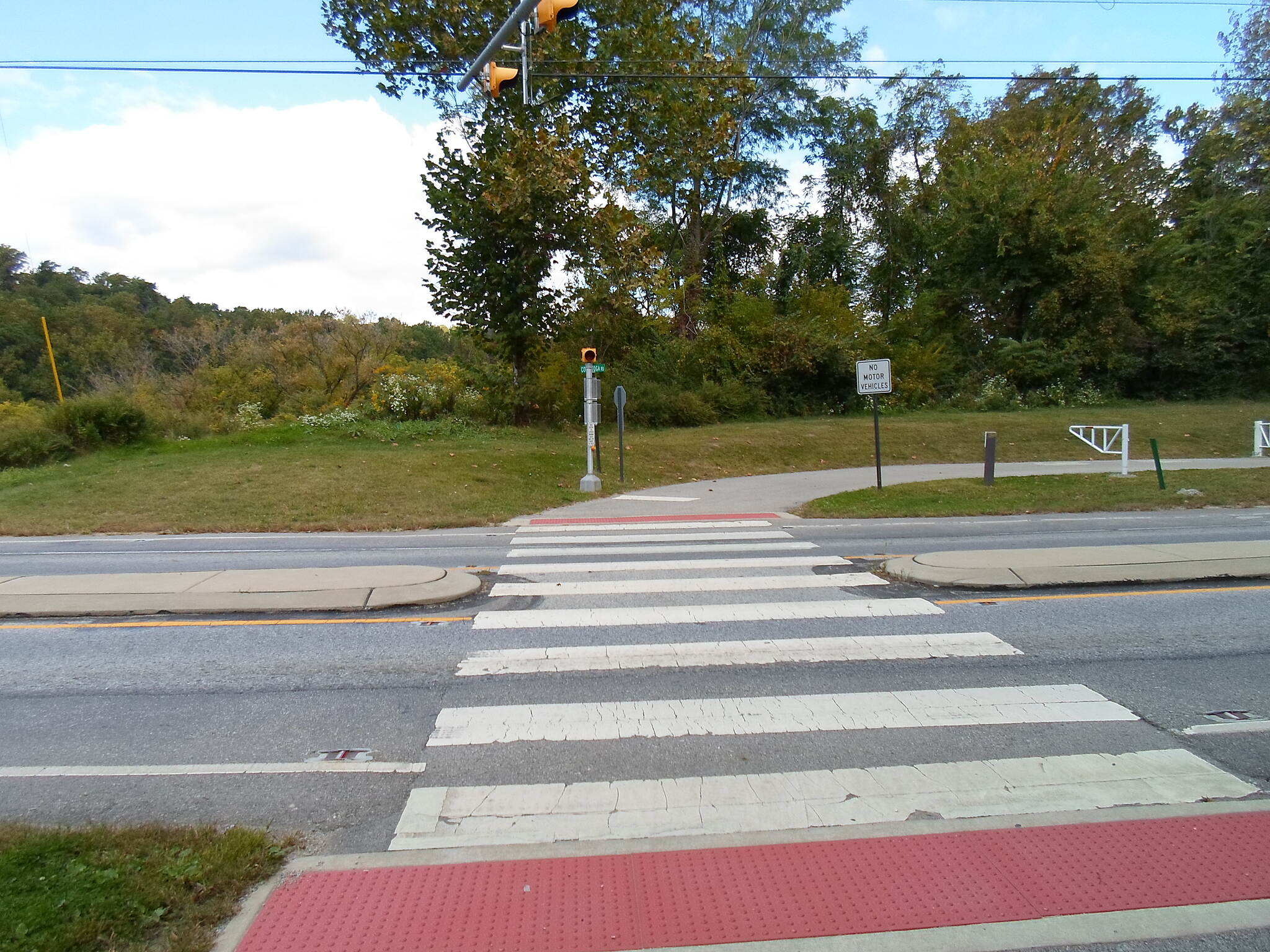Chester Valley Trail Chester Valley Trail Crosswalk and flashing red light signals at the Route 401 crossing. Taken September 2013.