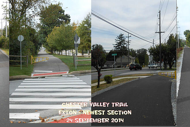Chester Valley Trail Western Terminus - Oct 2014 The trail's current western endpoint located near the Exton Square Mall where Business Route 30 intersects with PA-100.