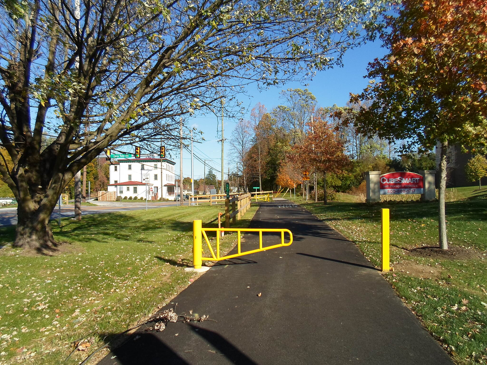 Chester Valley Trail Chester Valley Trail Approaching the new crossing at Lancaster Ave., which can be seen ahead to the left. Taken Oct. 2014.