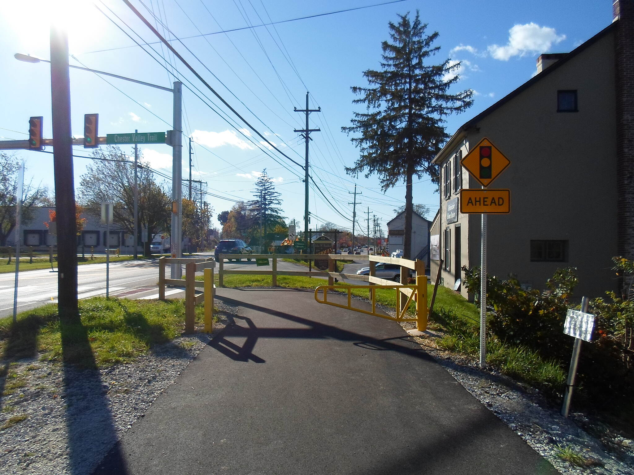 Chester Valley Trail Chester Valley Trail Approaching the new, signaled crossing of Lancaster Ave. from the east. Taken Oct. 2014.