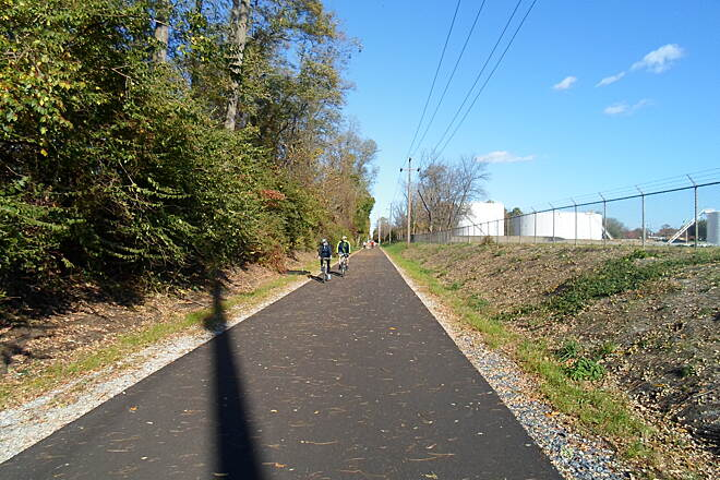Chester Valley Trail Chester Valley Trail Riding by the fuel depot between Ship Road and Lancaster Ave. on Exton's east end. Taken Oct. 2014.