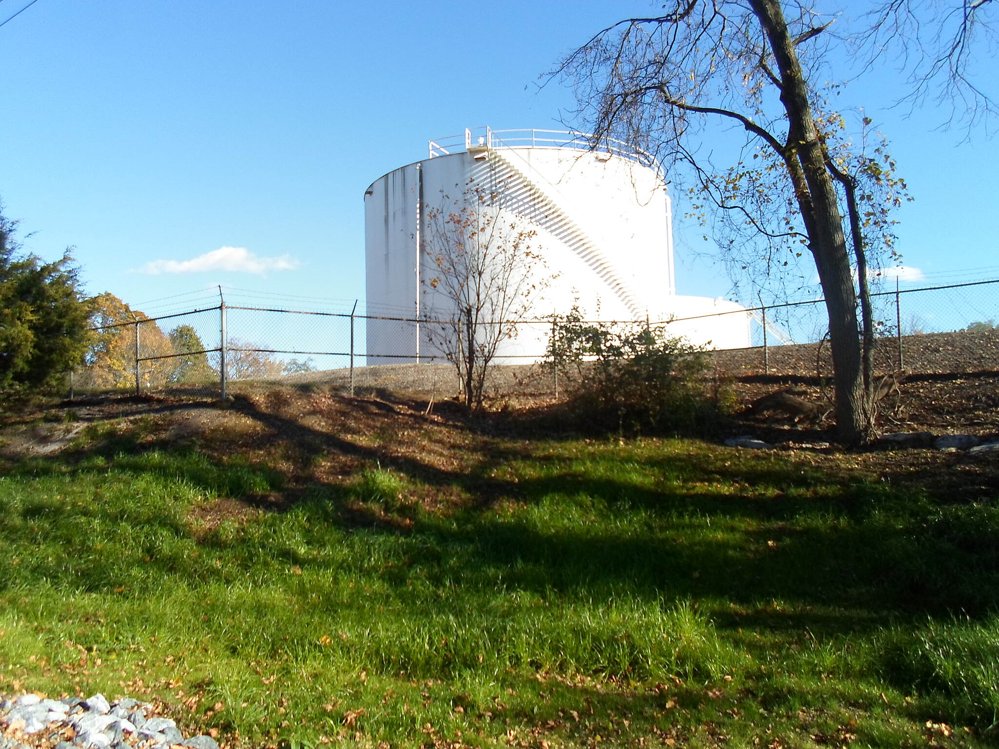 Chester Valley Trail Chester Valley Trail The trail passes by these fuel tanks just west of Ship Road. Taken Oct. 2014.