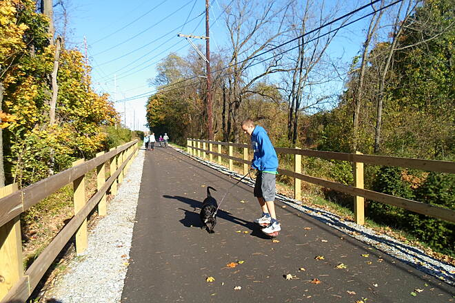 Chester Valley Trail Chester Valley Trail This kid was walking his dog on a skateboard just east of Ship Road. Taken Oct. 2014.