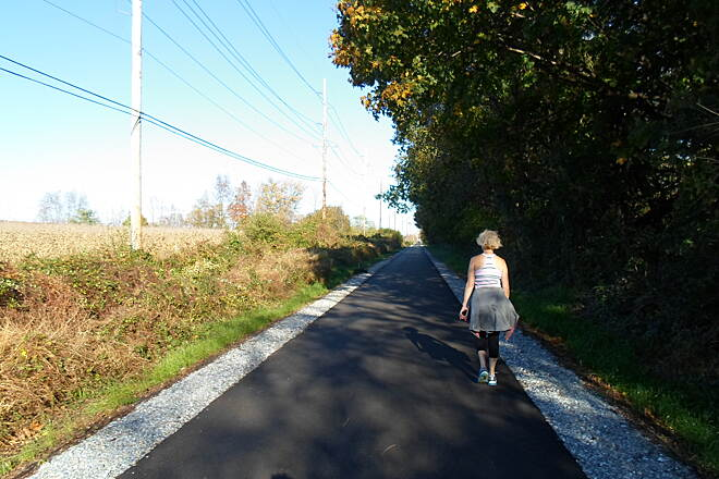 Chester Valley Trail Chester Valley Trail This woman was taking an afternoon stroll near Exton Park on a sunny, fall day. Taken Oct. 2014.