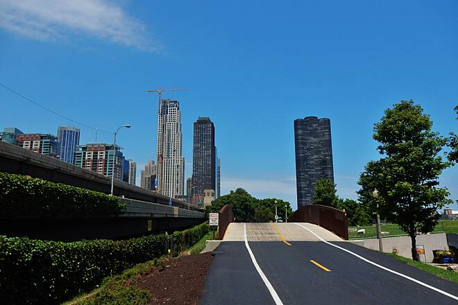 Chicago Lakefront Trail Chicago Skyline Taken 7-3-18, it was so hot that this normally busy part of the trail was almost devoid of humans.