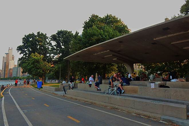 Chicago Lakefront Trail Time to play chess. People gather at this small pavilion right next to the trail at North Ave. to play chess. 8-12-18.