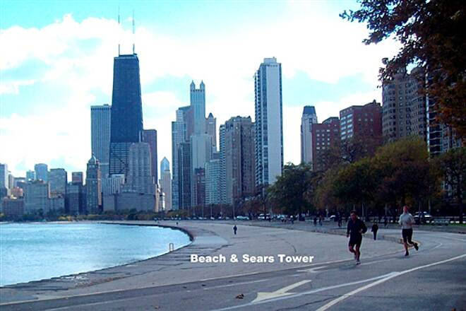Chicago Lakefront Trail Chicago Lakefront Bike Path Beach and Sears Tower