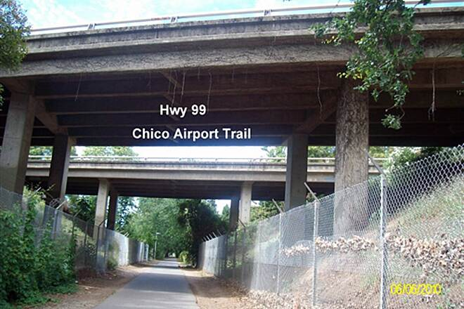 Chico Airport Bike Path Chico Airport Trail  Active Trail passes under Hwy-99 going southwest.