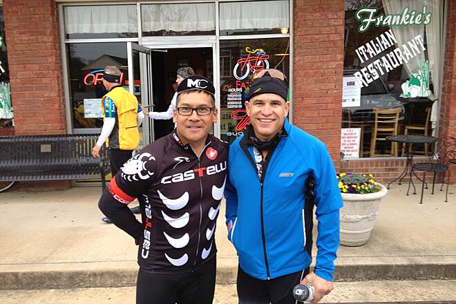 Chief Ladiga Trail Just finished lunch at Frankies Italian restaurant Friends Julio Driggs and John Ortiz enjoying a brief pause before finishing the day's ride on the Chief Ladiga Silver Comet trail.