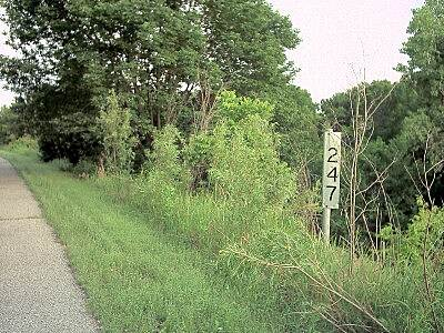 Cleveland Trail Mile Marker Original mile marker from the MKT (Katy) Railroad. I would assume the mileage is measured to Kansas City.